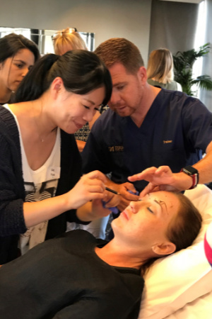 Dr Scott Horsburgh teaching upper face anti wrinkle treatments